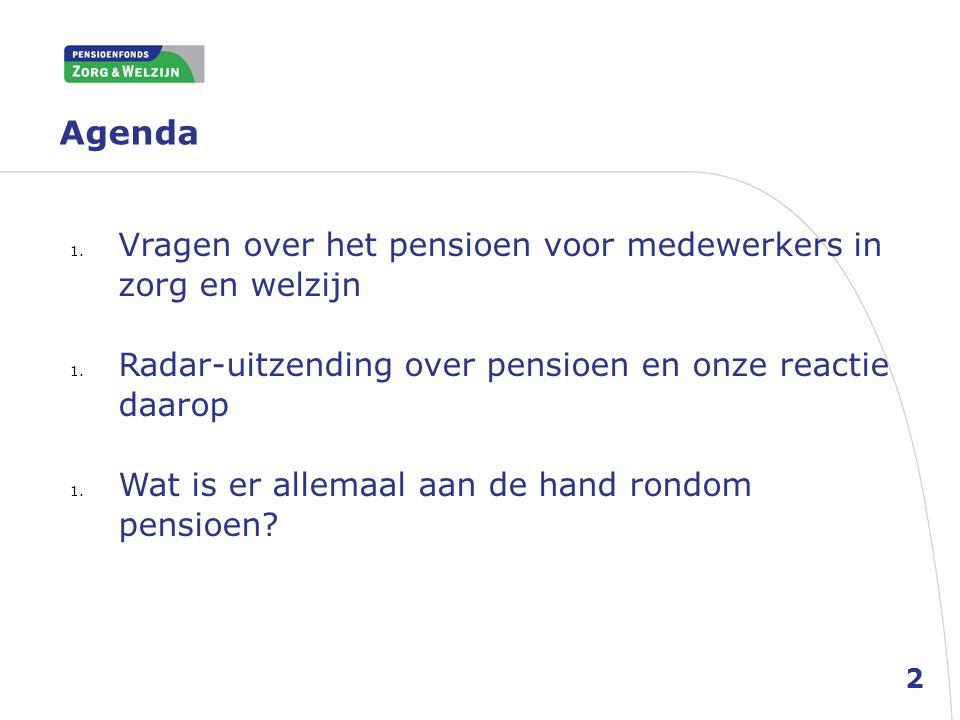 Agenda Vragen over het pensioen voor medewerkers in zorg en welzijn