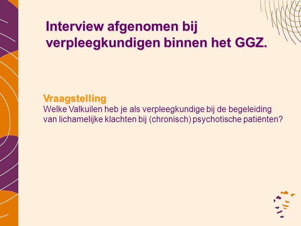 Interview afgenomen bij verpleegkundigen binnen het GGZ.