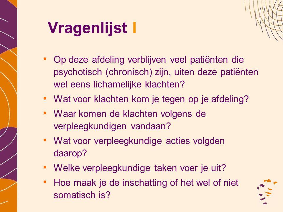 Vragenlijst I Op deze afdeling verblijven veel patiënten die psychotisch (chronisch) zijn, uiten deze patiënten wel eens lichamelijke klachten