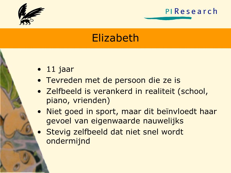 Elizabeth 11 jaar Tevreden met de persoon die ze is