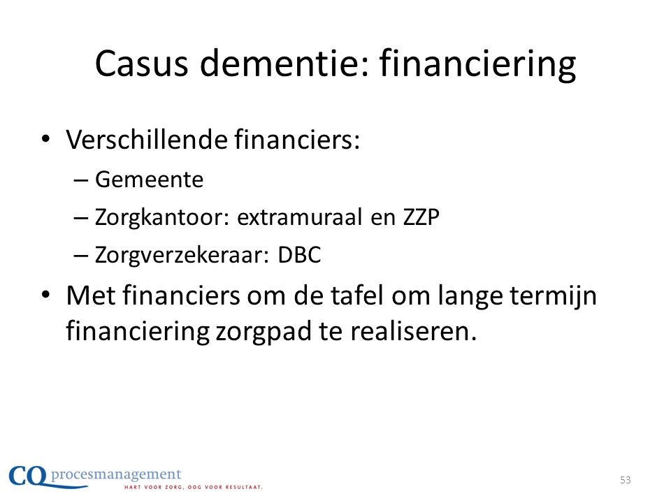 Casus dementie: financiering