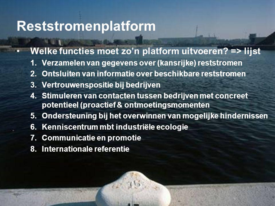 Reststromenplatform Welke functies moet zo'n platform uitvoeren => lijst. Verzamelen van gegevens over (kansrijke) reststromen.