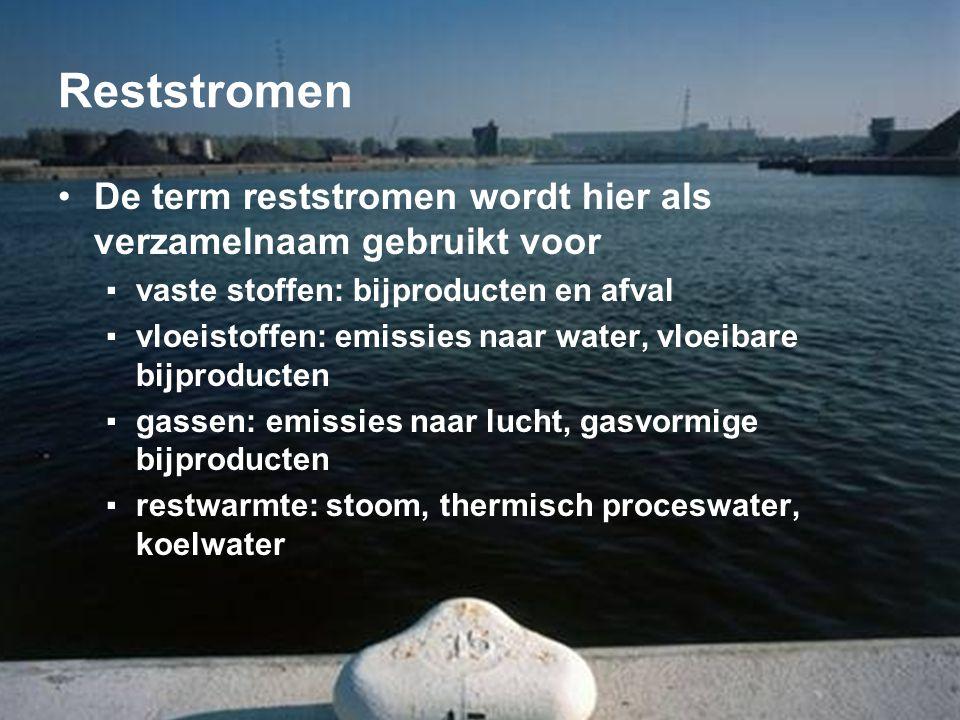Reststromen De term reststromen wordt hier als verzamelnaam gebruikt voor. vaste stoffen: bijproducten en afval.