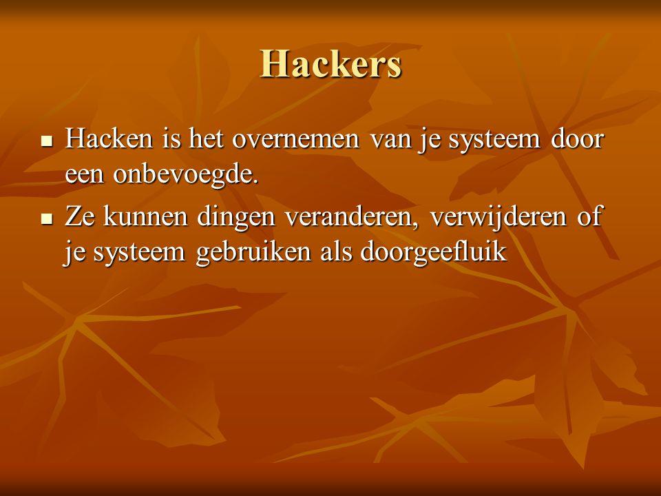 Hackers Hacken is het overnemen van je systeem door een onbevoegde.