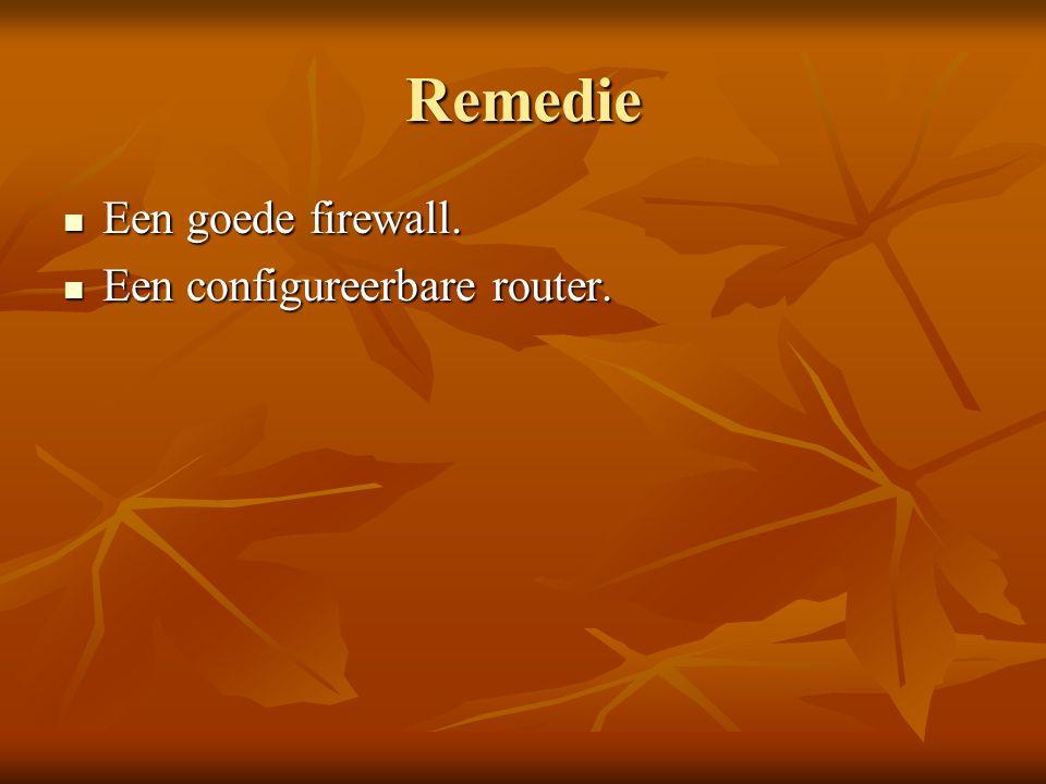 Remedie Een goede firewall. Een configureerbare router.