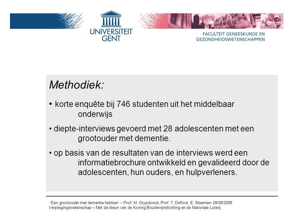 Methodiek: korte enquête bij 746 studenten uit het middelbaar onderwijs.
