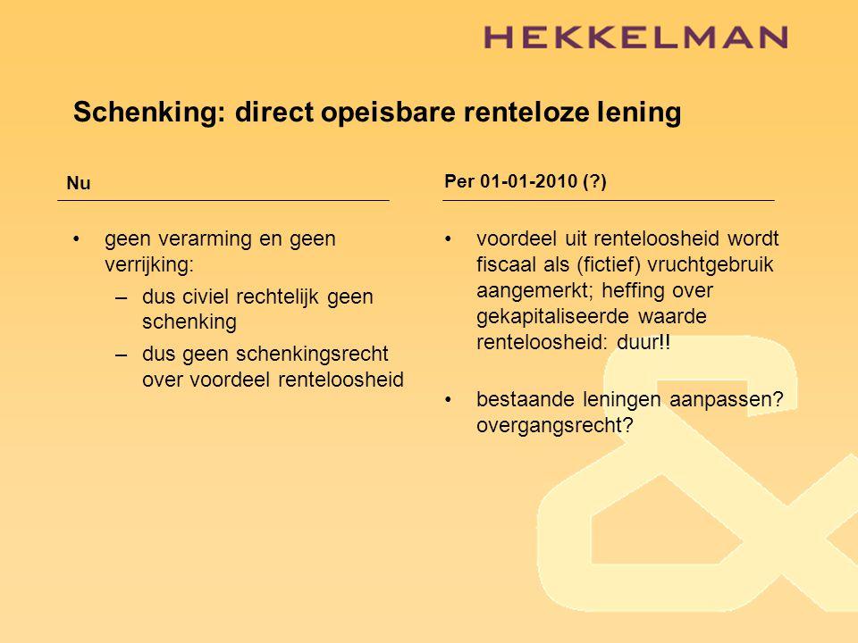 Schenking: direct opeisbare renteloze lening