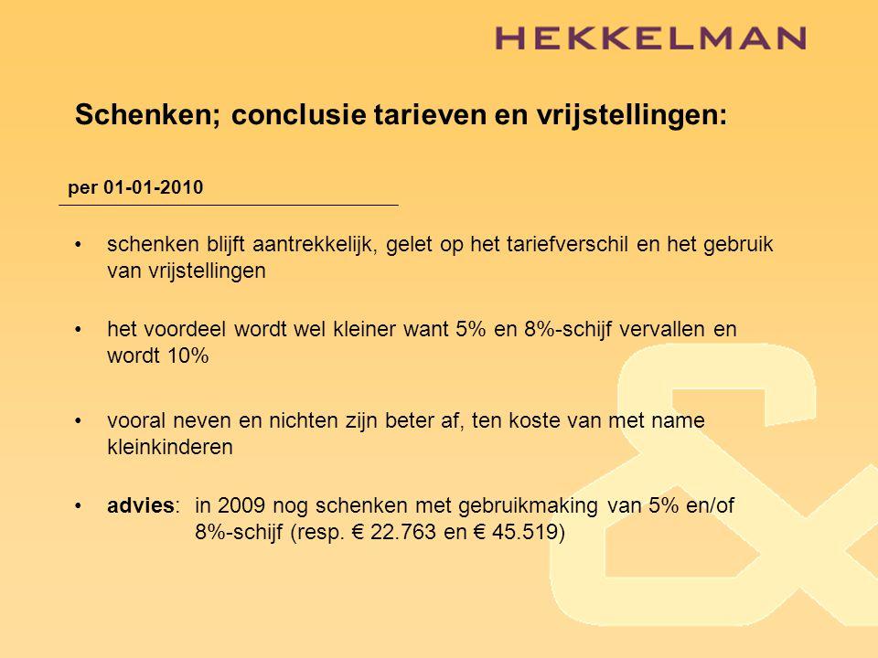 Schenken; conclusie tarieven en vrijstellingen: