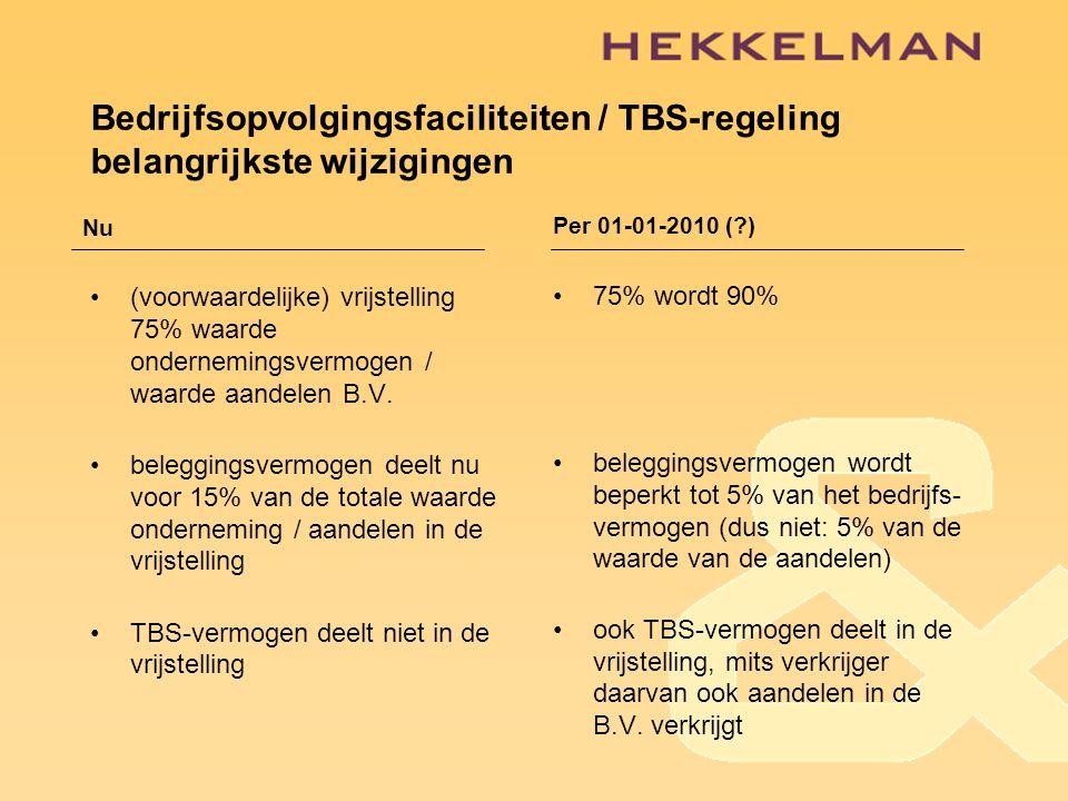 Bedrijfsopvolgingsfaciliteiten / TBS-regeling belangrijkste wijzigingen