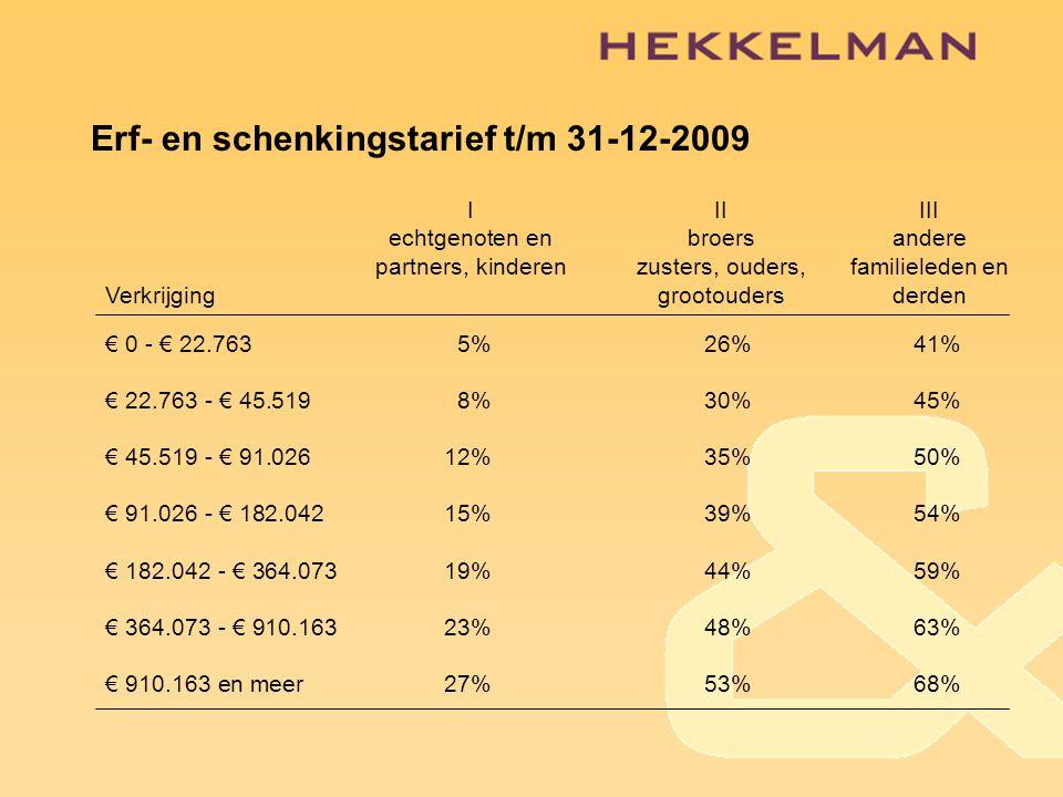 Erf- en schenkingstarief t/m 31-12-2009