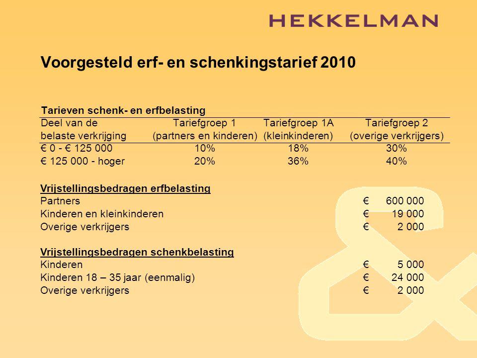 Voorgesteld erf- en schenkingstarief 2010