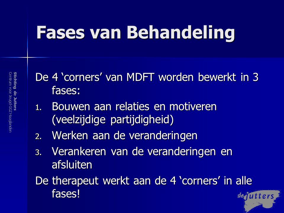 Fases van Behandeling De 4 'corners' van MDFT worden bewerkt in 3 fases: Bouwen aan relaties en motiveren (veelzijdige partijdigheid)