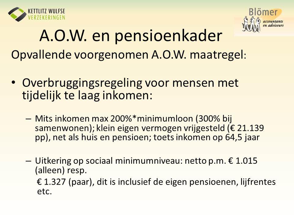 A.O.W. en pensioenkader Opvallende voorgenomen A.O.W. maatregel: