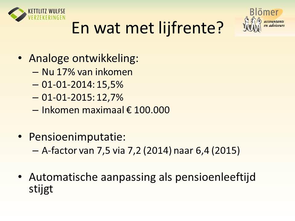 En wat met lijfrente Analoge ontwikkeling: Pensioenimputatie: