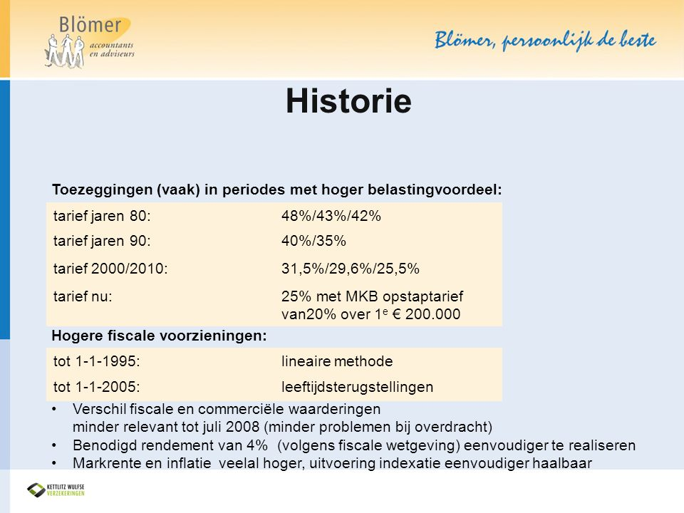 Historie Toezeggingen (vaak) in periodes met hoger belastingvoordeel: