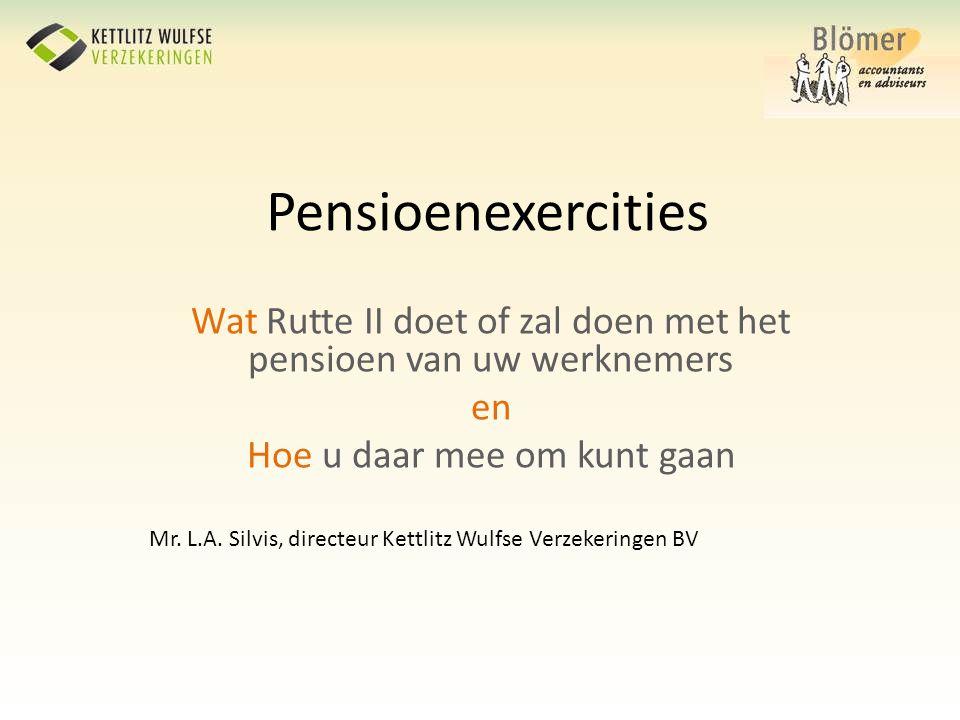 Pensioenexercities Wat Rutte II doet of zal doen met het pensioen van uw werknemers. en. Hoe u daar mee om kunt gaan.