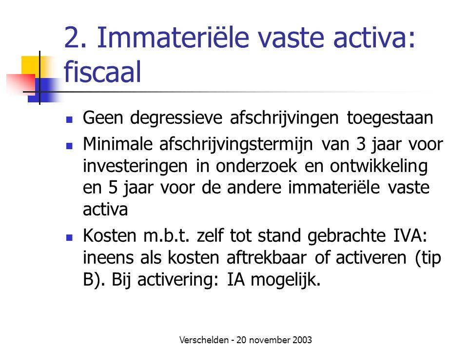 2. Immateriële vaste activa: fiscaal