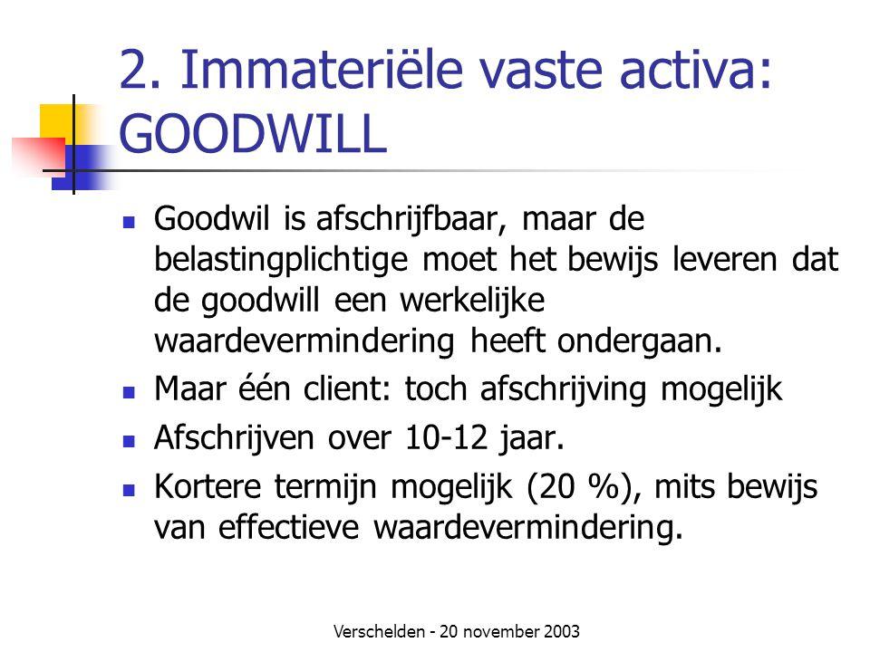 2. Immateriële vaste activa: GOODWILL