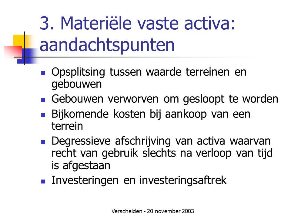 3. Materiële vaste activa: aandachtspunten