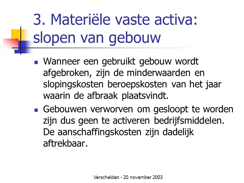 3. Materiële vaste activa: slopen van gebouw