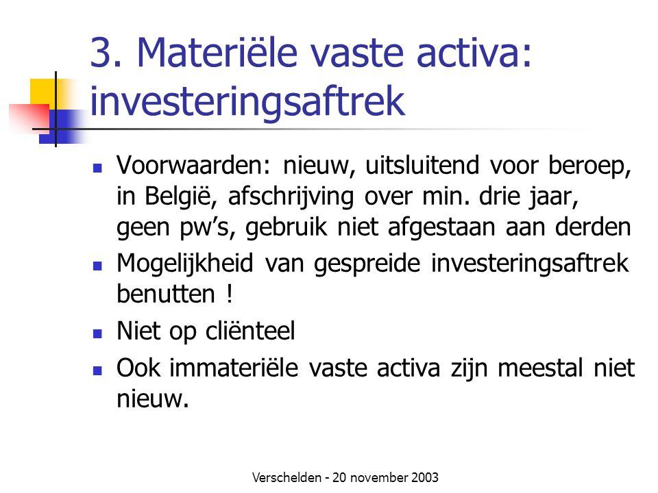 3. Materiële vaste activa: investeringsaftrek