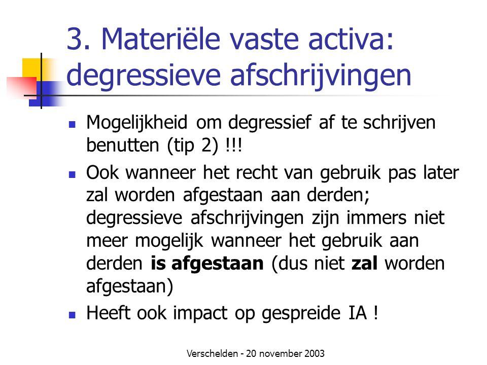 3. Materiële vaste activa: degressieve afschrijvingen