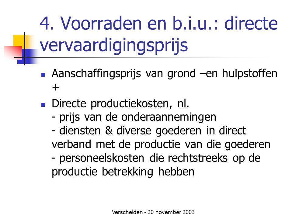 4. Voorraden en b.i.u.: directe vervaardigingsprijs