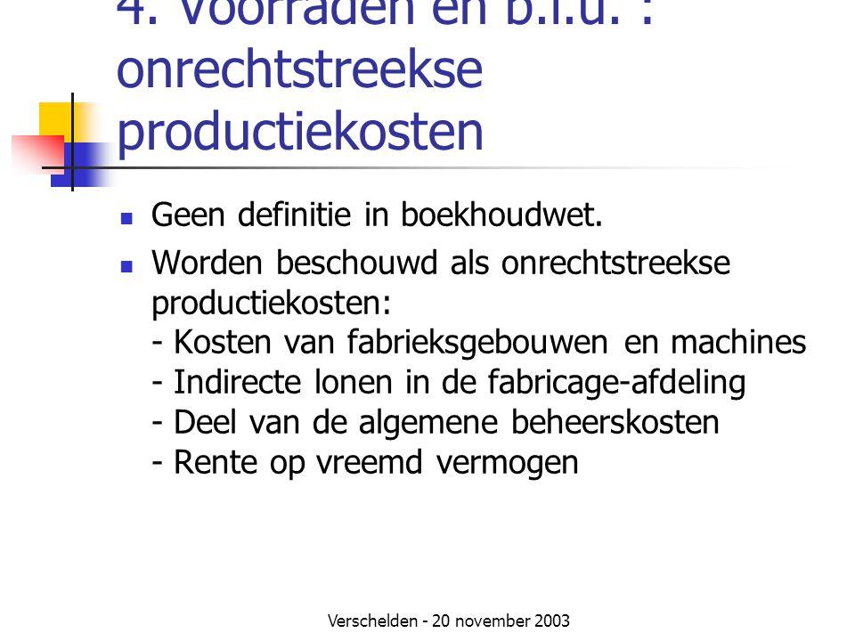 4. Voorraden en b.i.u. : onrechtstreekse productiekosten