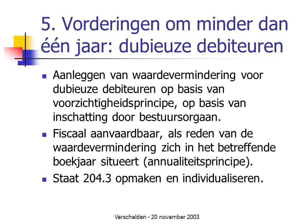 5. Vorderingen om minder dan één jaar: dubieuze debiteuren