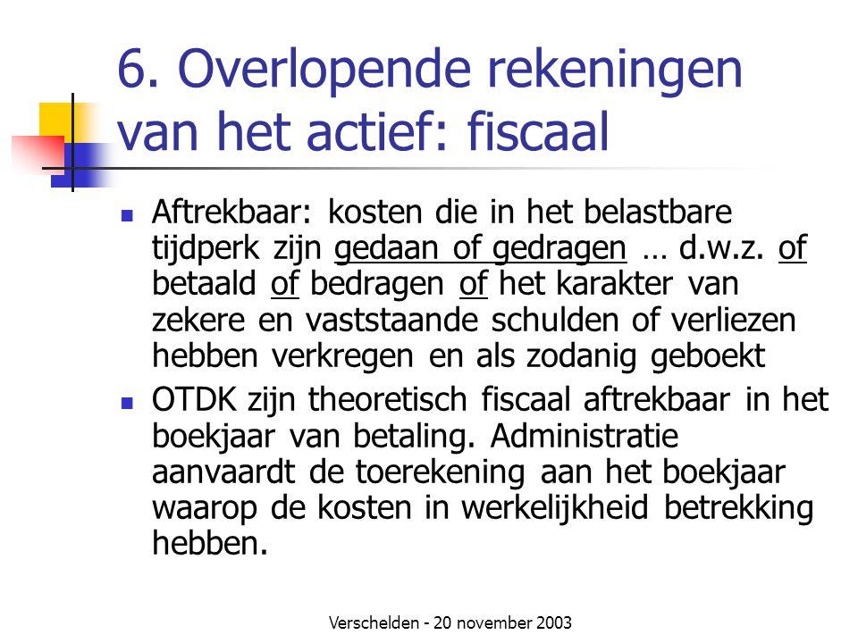 6. Overlopende rekeningen van het actief: fiscaal