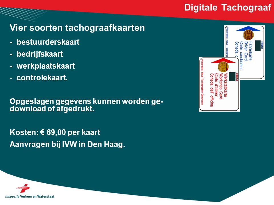 Digitale Tachograaf Vier soorten tachograafkaarten - bestuurderskaart