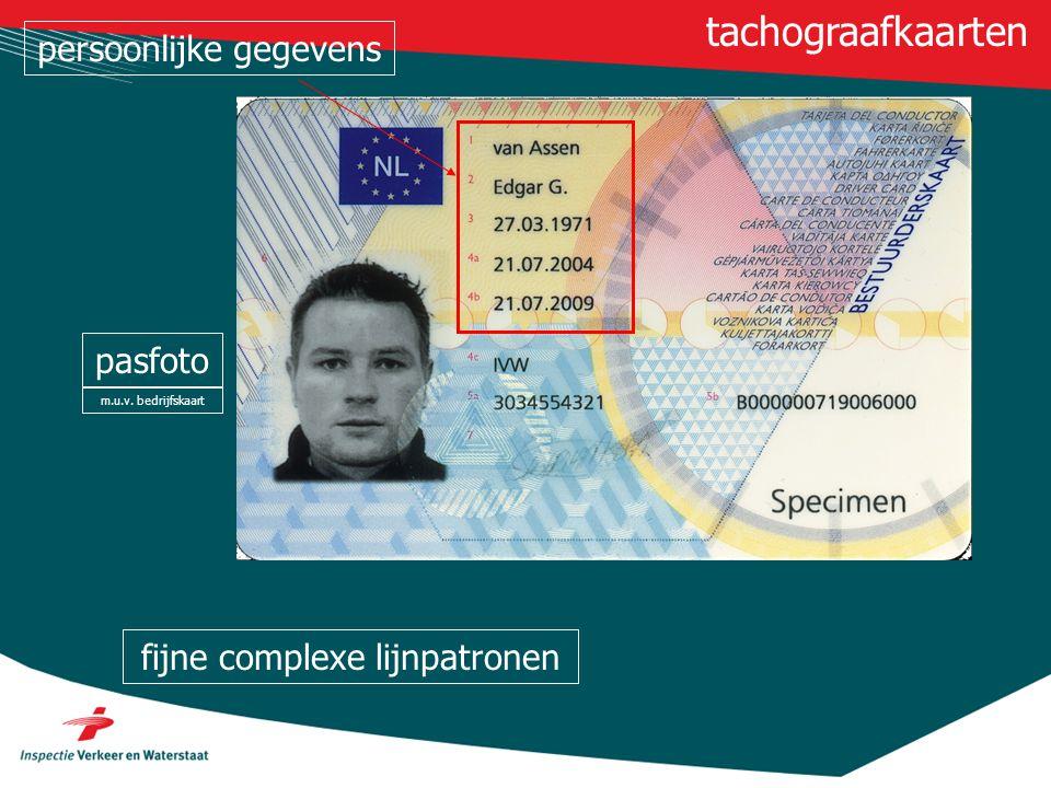 tachograafkaarten persoonlijke gegevens pasfoto