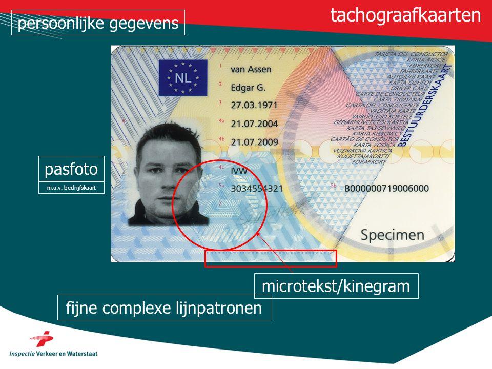 tachograafkaarten persoonlijke gegevens pasfoto microtekst/kinegram