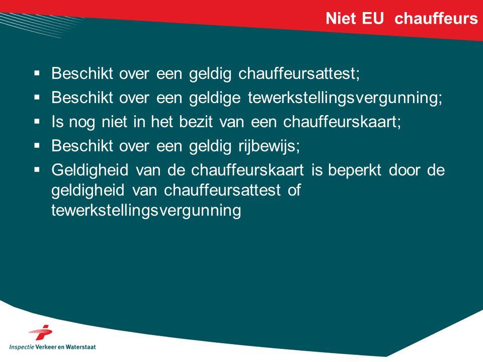 Niet EU chauffeurs Beschikt over een geldig chauffeursattest; Beschikt over een geldige tewerkstellingsvergunning;