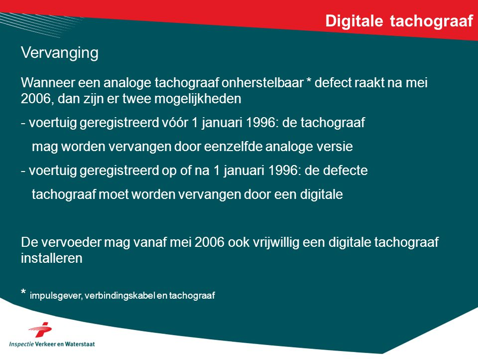 Digitale tachograaf Vervanging