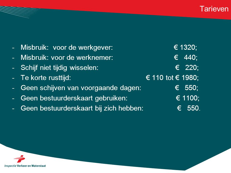 Tarieven Misbruik: voor de werkgever: € 1320;