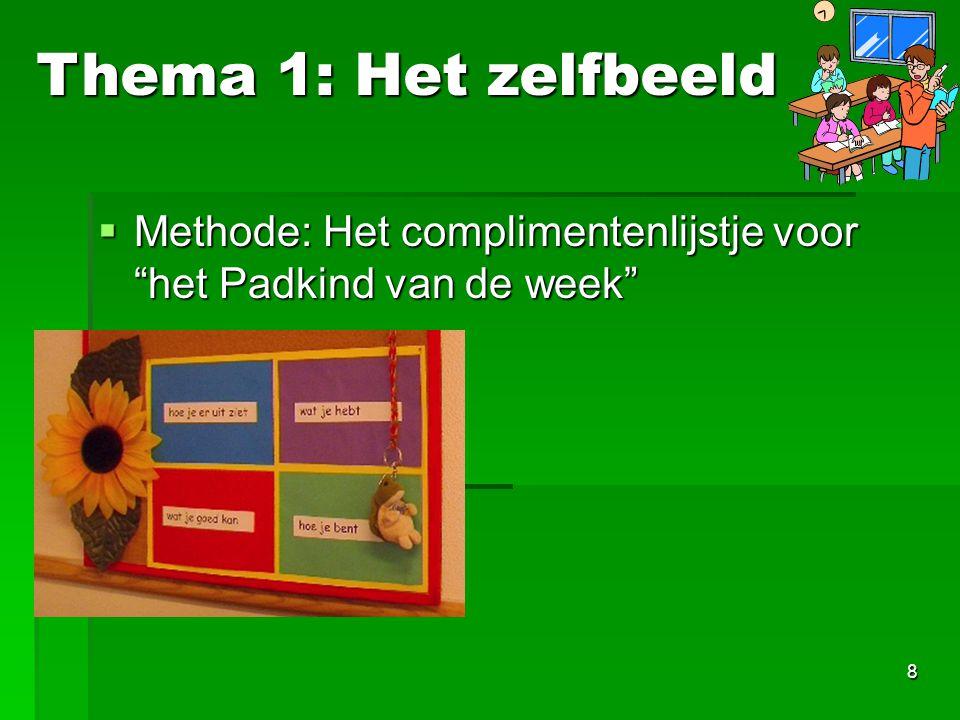 Thema 1: Het zelfbeeld Methode: Het complimentenlijstje voor het Padkind van de week Nog foto van bureau-raam.