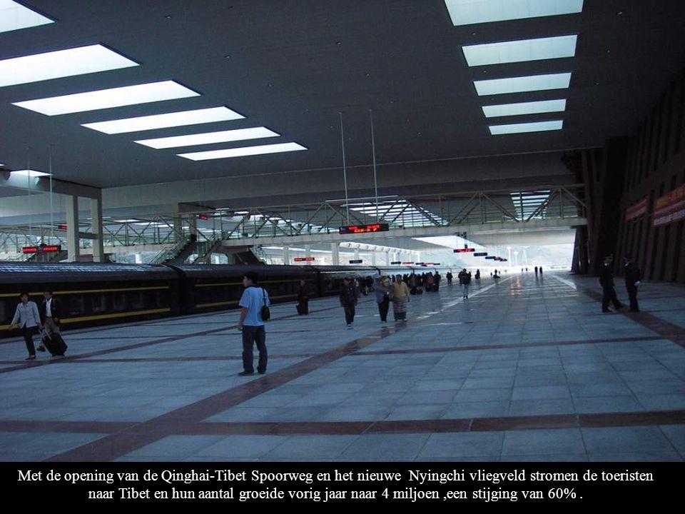 Met de opening van de Qinghai-Tibet Spoorweg en het nieuwe Nyingchi vliegveld stromen de toeristen naar Tibet en hun aantal groeide vorig jaar naar 4 miljoen ,een stijging van 60% .