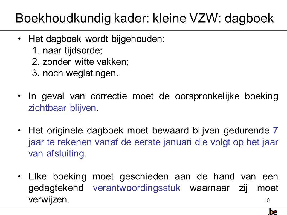 Boekhoudkundig kader: kleine VZW: dagboek