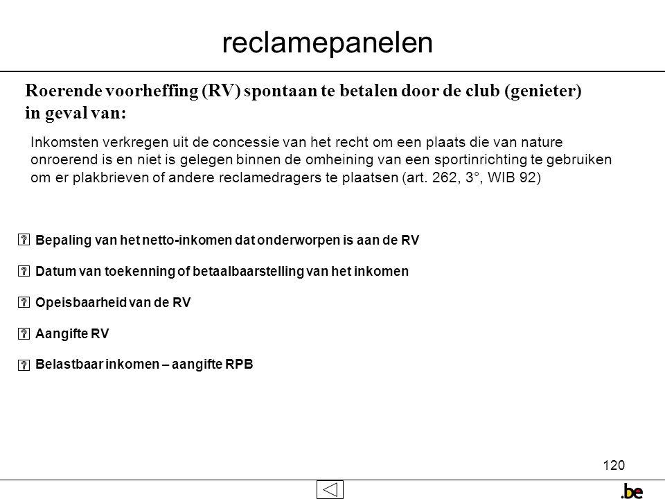 reclamepanelen Roerende voorheffing (RV) spontaan te betalen door de club (genieter) in geval van:
