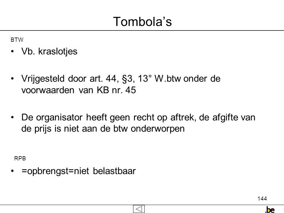 Tombola's Vb. kraslotjes