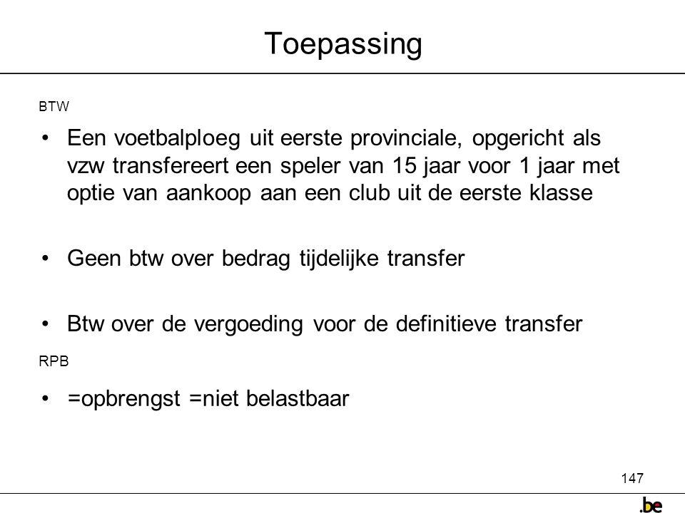Toepassing BTW.