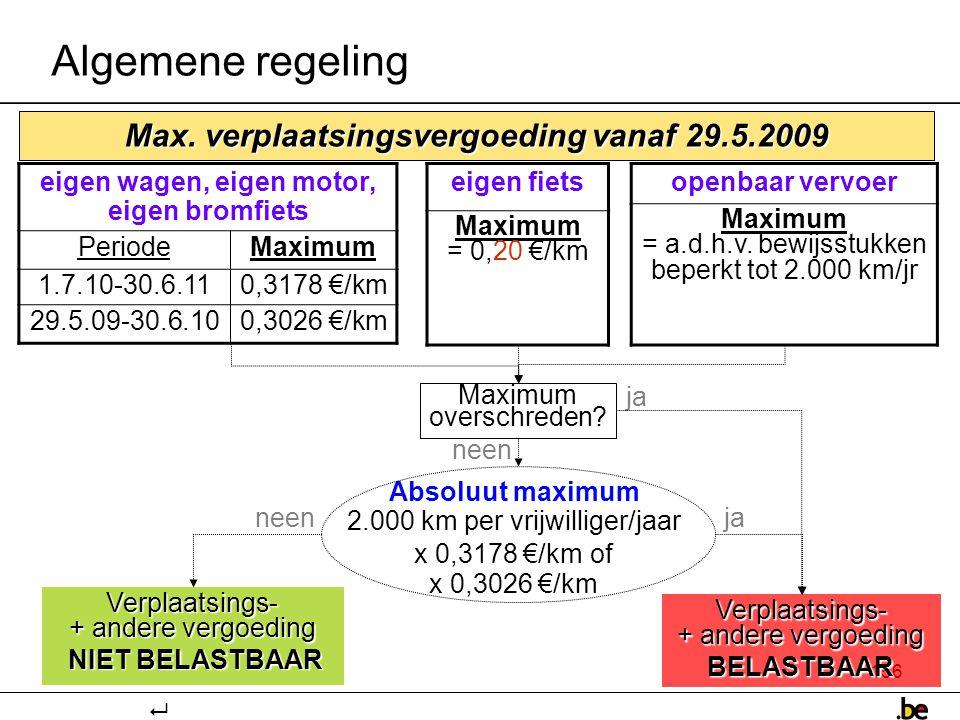 Algemene regeling Max. verplaatsingsvergoeding vanaf 29.5.2009