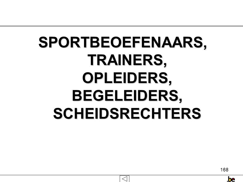 SPORTBEOEFENAARS, TRAINERS, OPLEIDERS, BEGELEIDERS, SCHEIDSRECHTERS