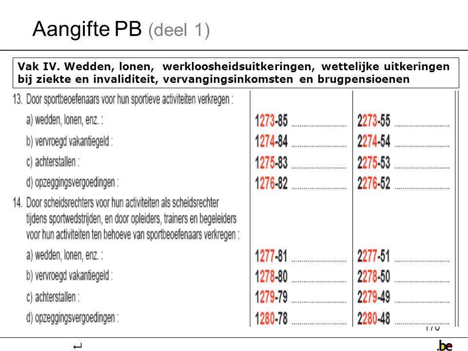Aangifte PB (deel 1)