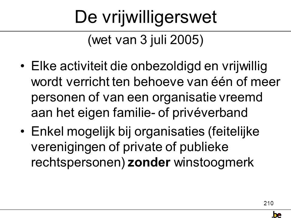 De vrijwilligerswet (wet van 3 juli 2005)