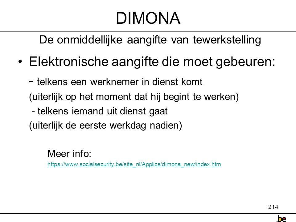 DIMONA De onmiddellijke aangifte van tewerkstelling