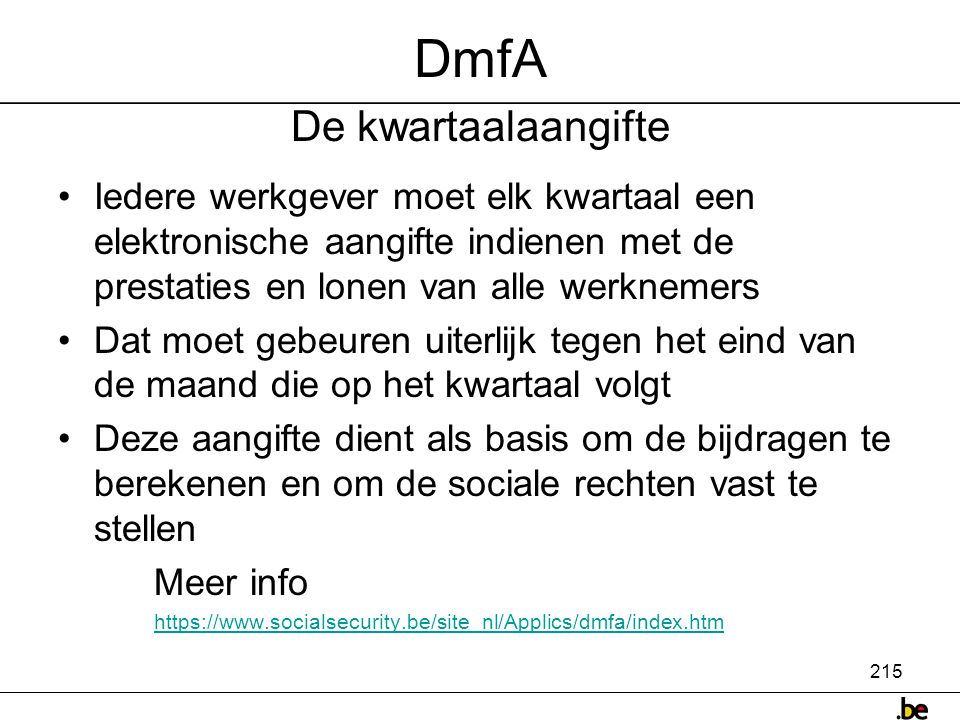 DmfA De kwartaalaangifte