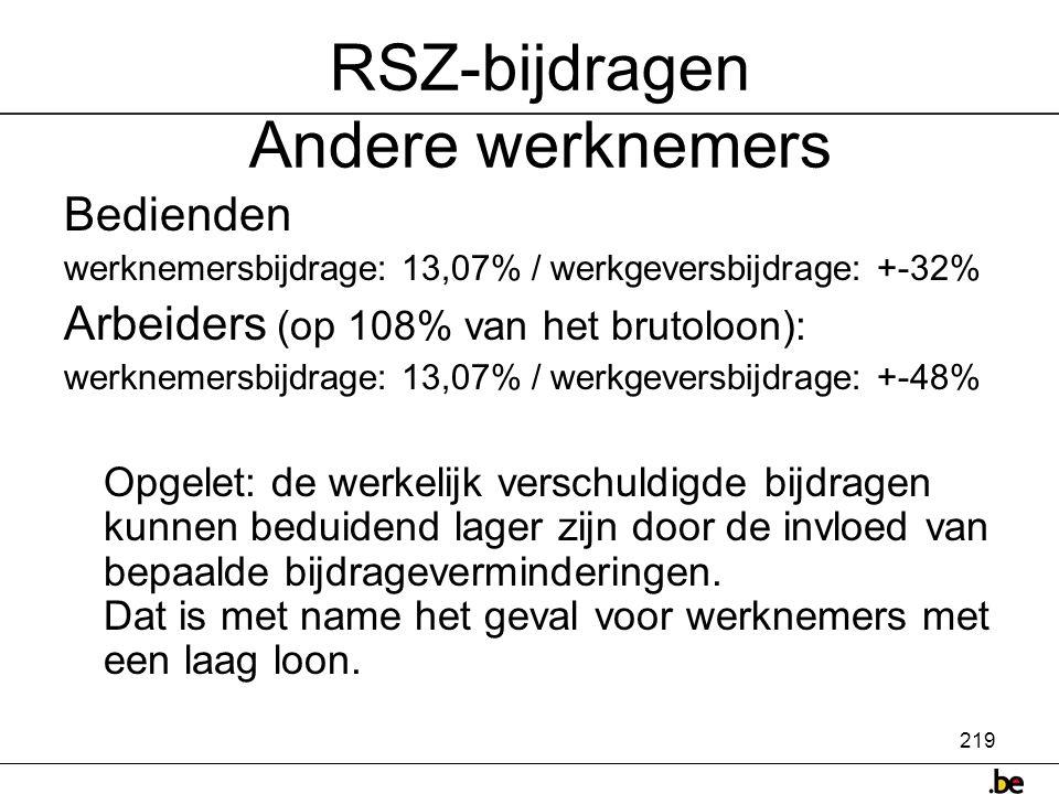RSZ-bijdragen Andere werknemers