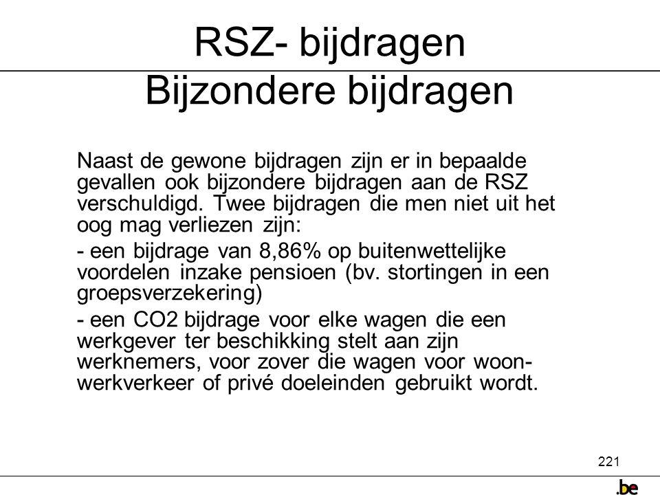 RSZ- bijdragen Bijzondere bijdragen